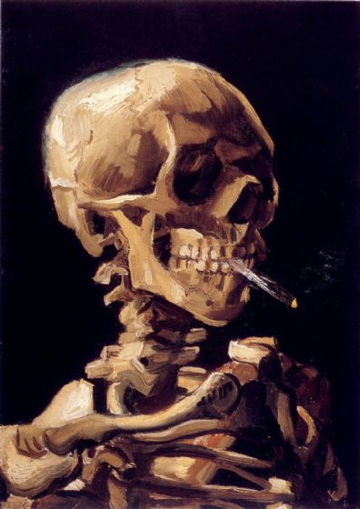Van Gogh, Vincent: Skull of a Skeleton with Burning Cigarette. Fine Art Print/Poster (1356)